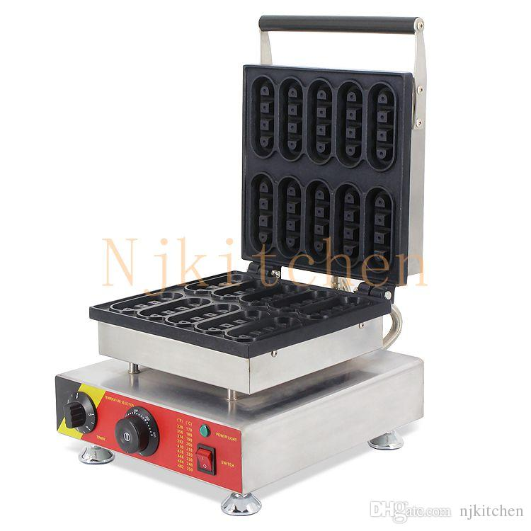 Livraison Gratuite Utilisation Commerciale 220 V 110 V Électrique Mini Belge Gaufre Doigtier Machine Machine Fer Moule Plaque