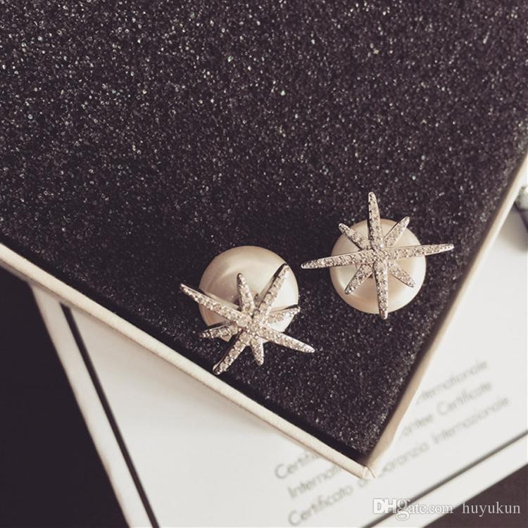 Brand New Design crystal snow flower star shaped stud earrings High quality rhinestone pearl earrings women's Christmas gift jewelry