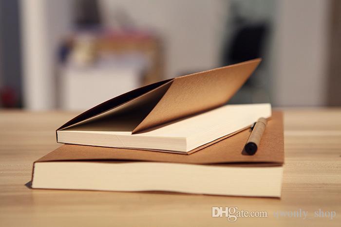 Atacado A4 Páginas Em Branco Kraft Notebook 56 Folhas Do Vintage Bloco de Notas Livro de Material Escolar Escritório Presentes de Papelaria