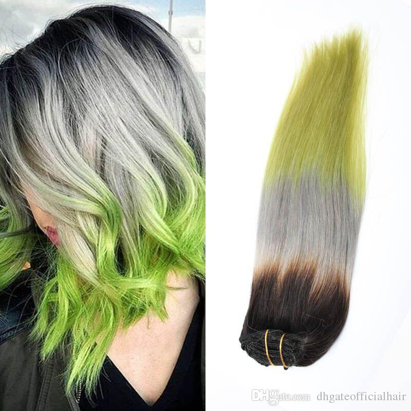 Colored Hair Extensions 100 Human Brazilian Hair Clip Inclip On