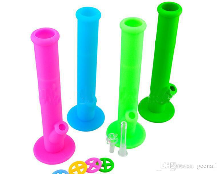 Tuyaux d'eau colorés en silicone bang en verre joint 14mm bongs en silicone Plate-formes pétrolières Tuyau en verre en silicium Materil