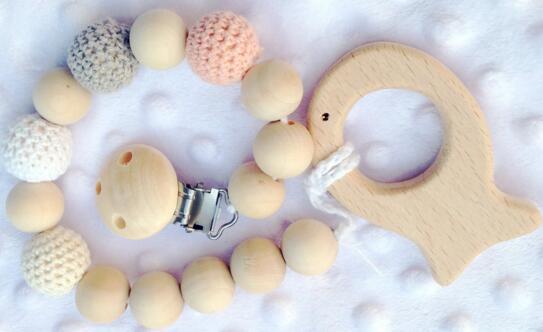 Bebek Ahşap Dişlikleri Bakım Oyuncak Klip Kukla Tutucu Zincir Diş Çıkarma Doğal Ahşap Boncuk Tığ Kaplı Boncuk Bebek Hediye Diş Çıkarma için Güvenli DHL