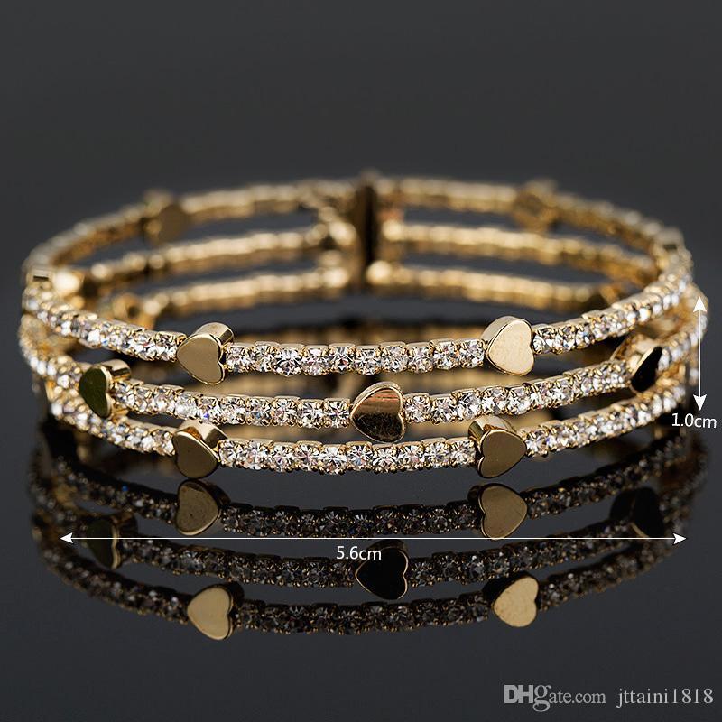New Fashion Elegant Women Bangle 3 row Wristband Bracelet Crystal Cuff Bling Lady Gift Bracelets & Bangles B020