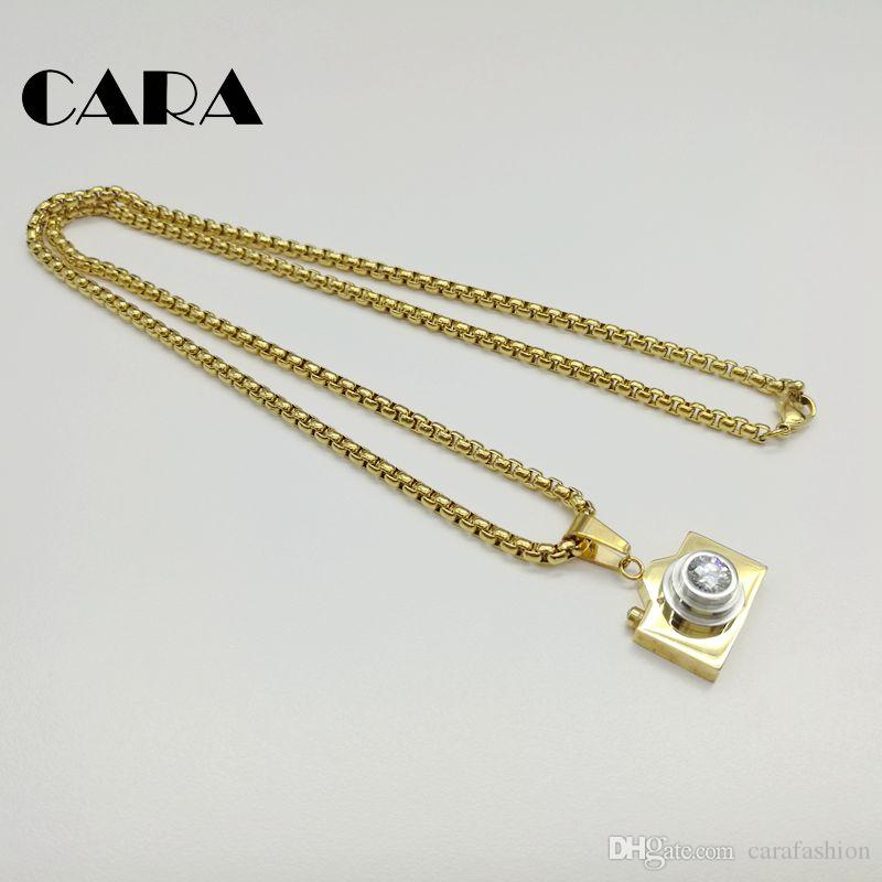 CARA New arrival 316L Stainless steel hip hop Camera necklace pendant with Cubic zirconia stone 60cm popcorn chain necklace CARA0122