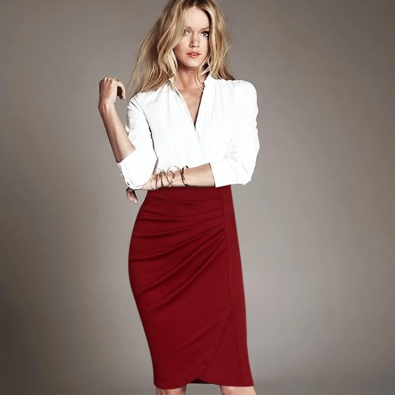 54024272a2 2019 New Fashion Women Elegant Vintage Pleated Frill Ruched High Waist  Business Casual Wear To Work Office Party Pencil Sheath Skirt From  Weichaoliang, ...