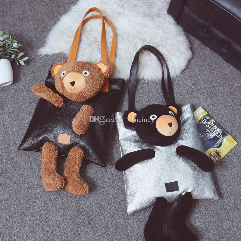 bf6c363cf2 Wholesale Cute Teddy Bear Large Shoulder Bag Woman Leather Handbags Girls  Fashion Tote Bags Shoulder Bags For Women Handbag Sale From Iamcindy