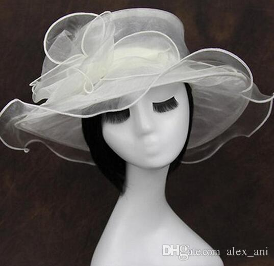 Hot Sale 2017 new arrival womens Organza Hat Kentucky Derby Wedding Church Party Floral Hat wide brim sun summer hats for women