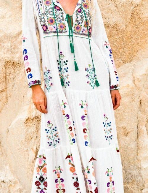 Quaste Blumen Chic Vestidos Sommer Weißes Kleid Markenkleidung Kleider Vintage Langarm Stil Bestickt Strand Maxikleid Boho 2019 rBxedCoW