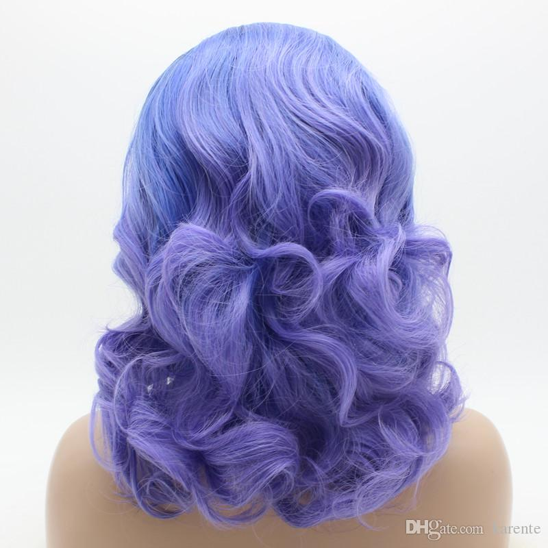 Iwona Hair Wavy Shoulder Length Dark Root Blue Ombre Wig 19#1B/1300/3815 Half Hand Tied Heat Resistant Synthetic Lace Front Wig