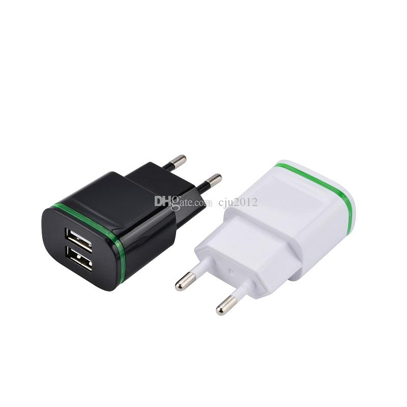Green Led light Dual usb ports 2.1A+1A EU US Ac home wall charger travel adapter for iphone 6 7 8 Samsung htc android phone pc