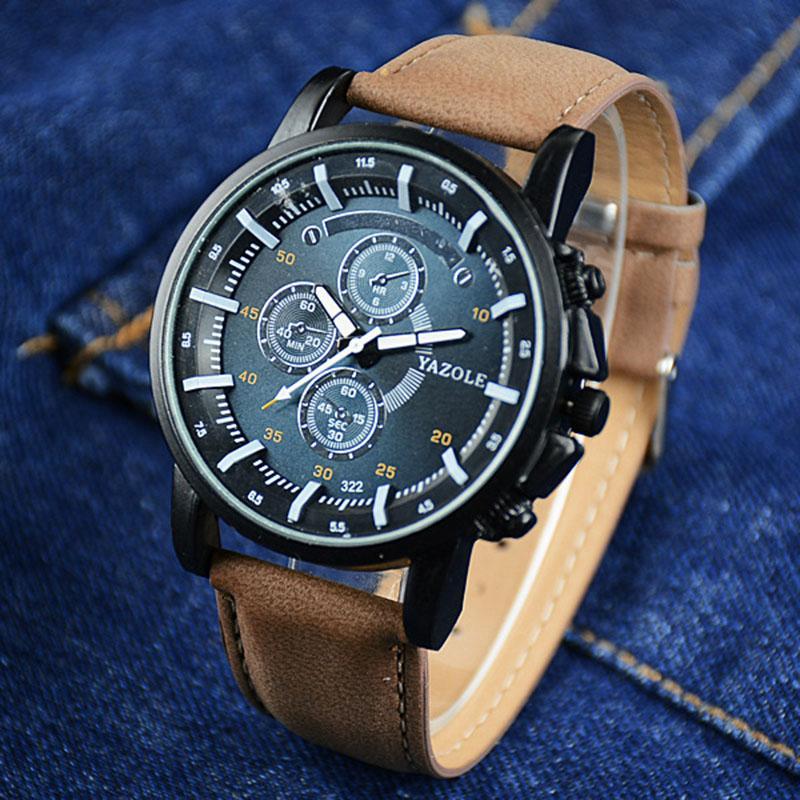 5de9f923fbff Compre YAZOLE Reloj Hombre Reloj Moda Luminoso Reloj Hombre Saat Reloj De  Hombre De Cuero Resistente Al Agua Reloj Relogio Masculino Reloj Hombre A   8.03 ...