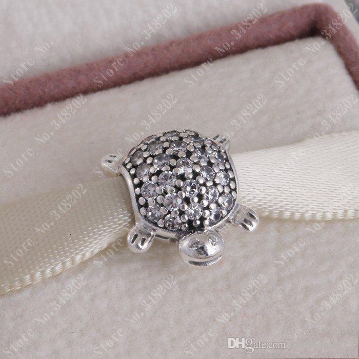 Yeni Deniz Kaplumbağası Charms Pandora Bilezikler Orijinal 925 Ayar Gümüş Temizle Kristal Açacağı Kaplumbağa Hayvan Charm DIY Takı Yapma HB323