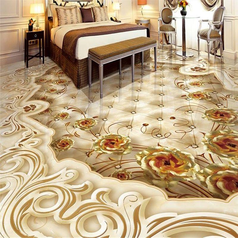 Wholesale Custom 3d Flooring Golden Rose Shading 3d Floor