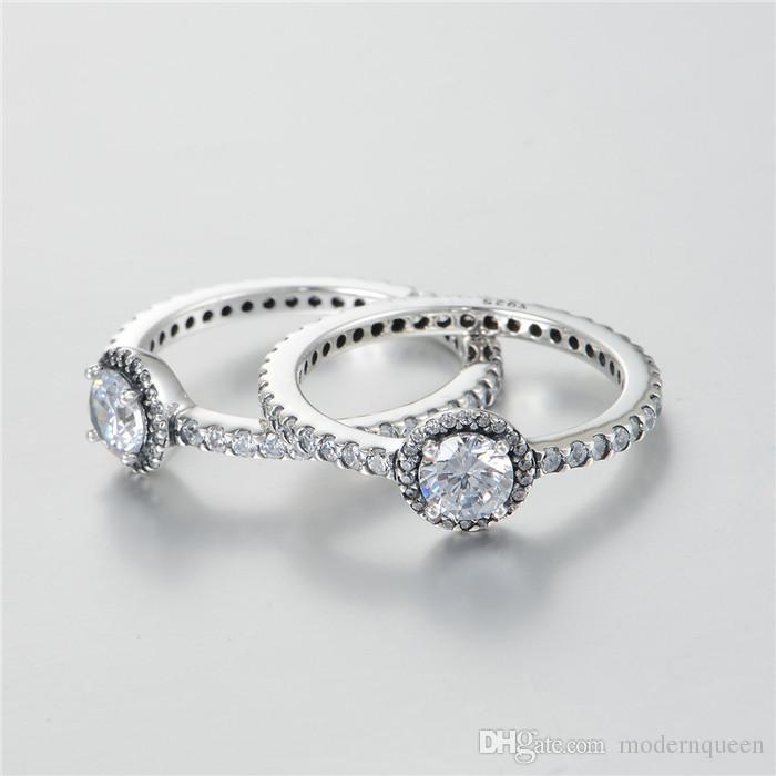 Gemstone Diamond Argento anelli cubic zirconia S925 Sterling Silver adatti bracciale in stile Pandora e gioielli in charms 190946CZ