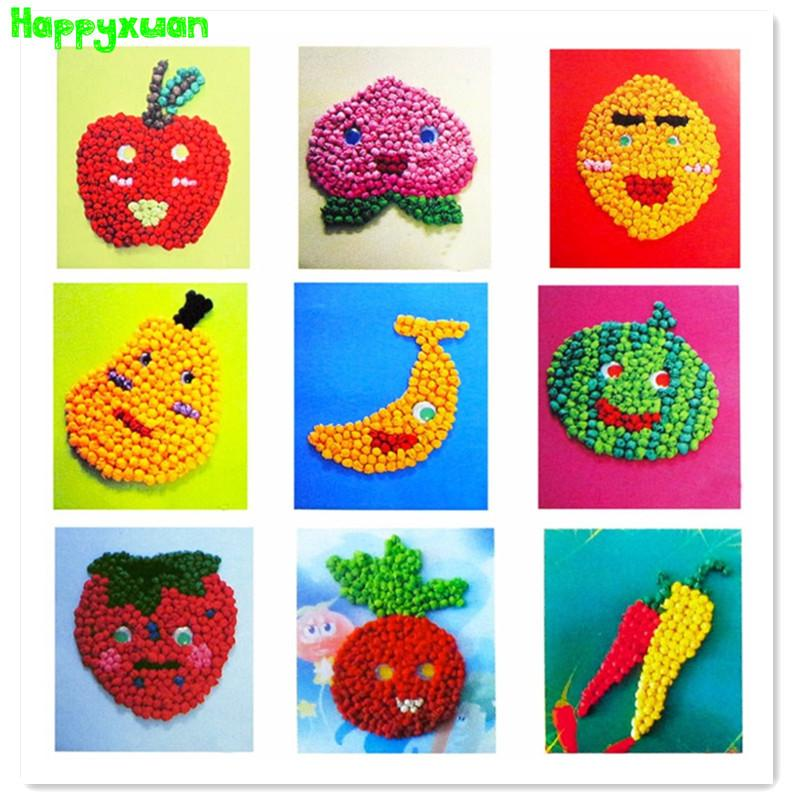 Happyxuan Tissue Paper Art Stickers Fruit Vegetables Diy Handmade Crumpled Ball Craft For Kids Early Learning Fun Toys Artificial