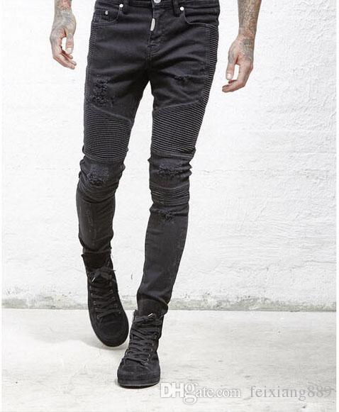 Großhandels-stellen Sie Kleidungsdesignerhosen slp Blau / Schwarzes dar, das den dünnen Denim gerade biker dünne Jeans Männer zerrissene Jeans 28-40 zerstört wird