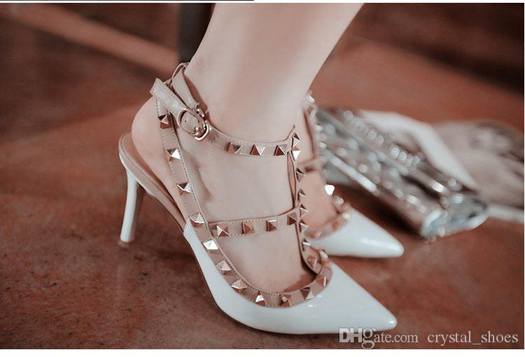 Fashion 10CM Thin High Heels Ankle Strap Sandals Gold Rivets T Strap  Pointed Toe Sandal Party Dress Shoes Women Gladiator Sandals Woman Wedding  Shoes Wedges ... e48b6b582967