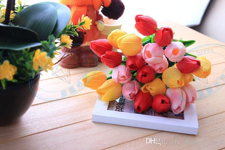 Latex Tulips Artificial PU Flower bouquet Real touch flowers For Home decoration Wedding Decorative Flowers Option