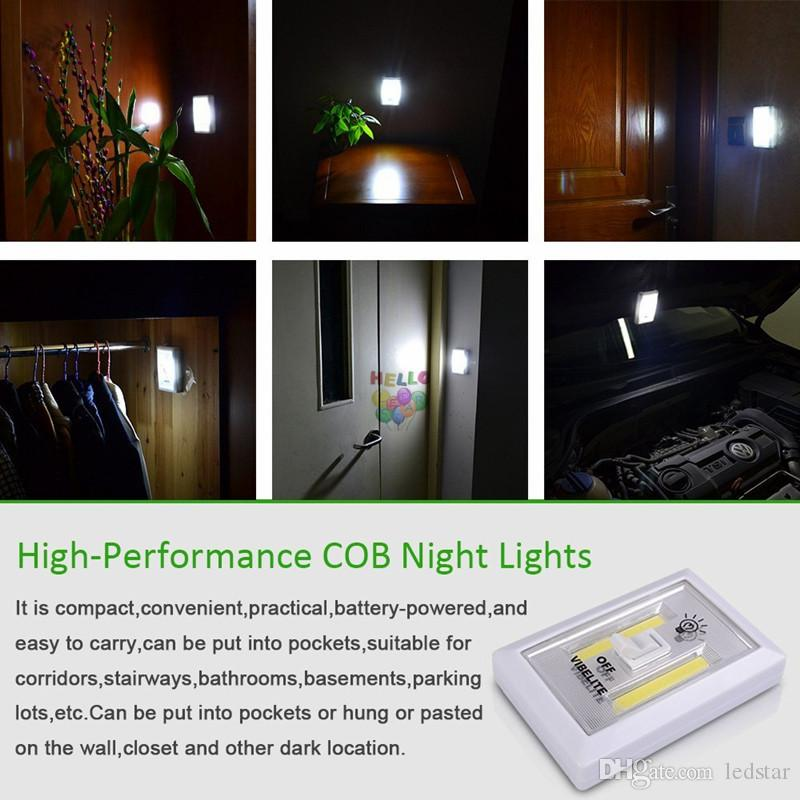 Magnetic Mini COB LED Cordless Light Switch Wall Night Lights Battery Operated Kitchen Cabinet Garage Closet Camp Emergency Lamp
