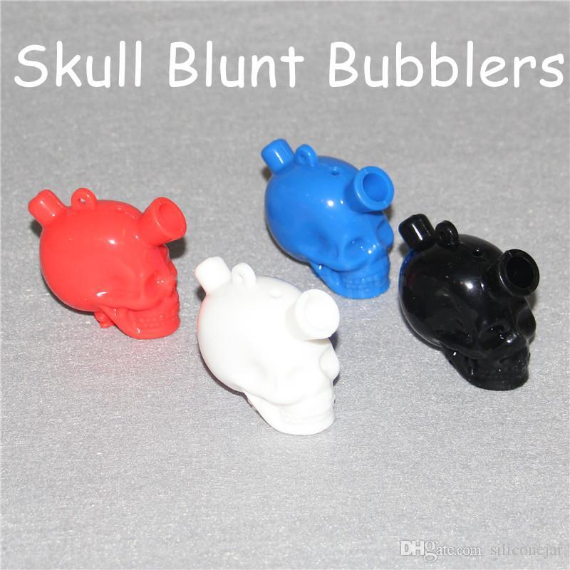 Venda quente Silicone blunt conjunta bubbler blunt pequeno curso mini bongos crânio blunt bubblers crânio tubulações de água frete grátis DHL