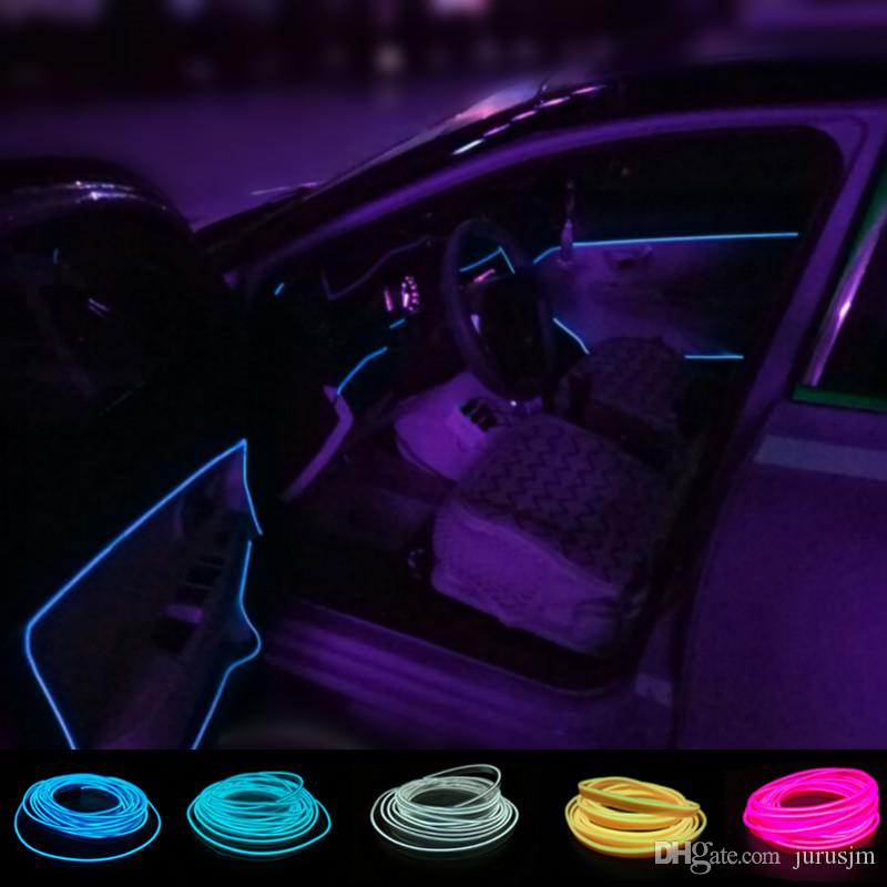 Merveilleux 2pcs 1meter Atmosphere Lamp Decorative Light Car Interior Lights Neon  Flexible El Wire Rope Tube Waterproof