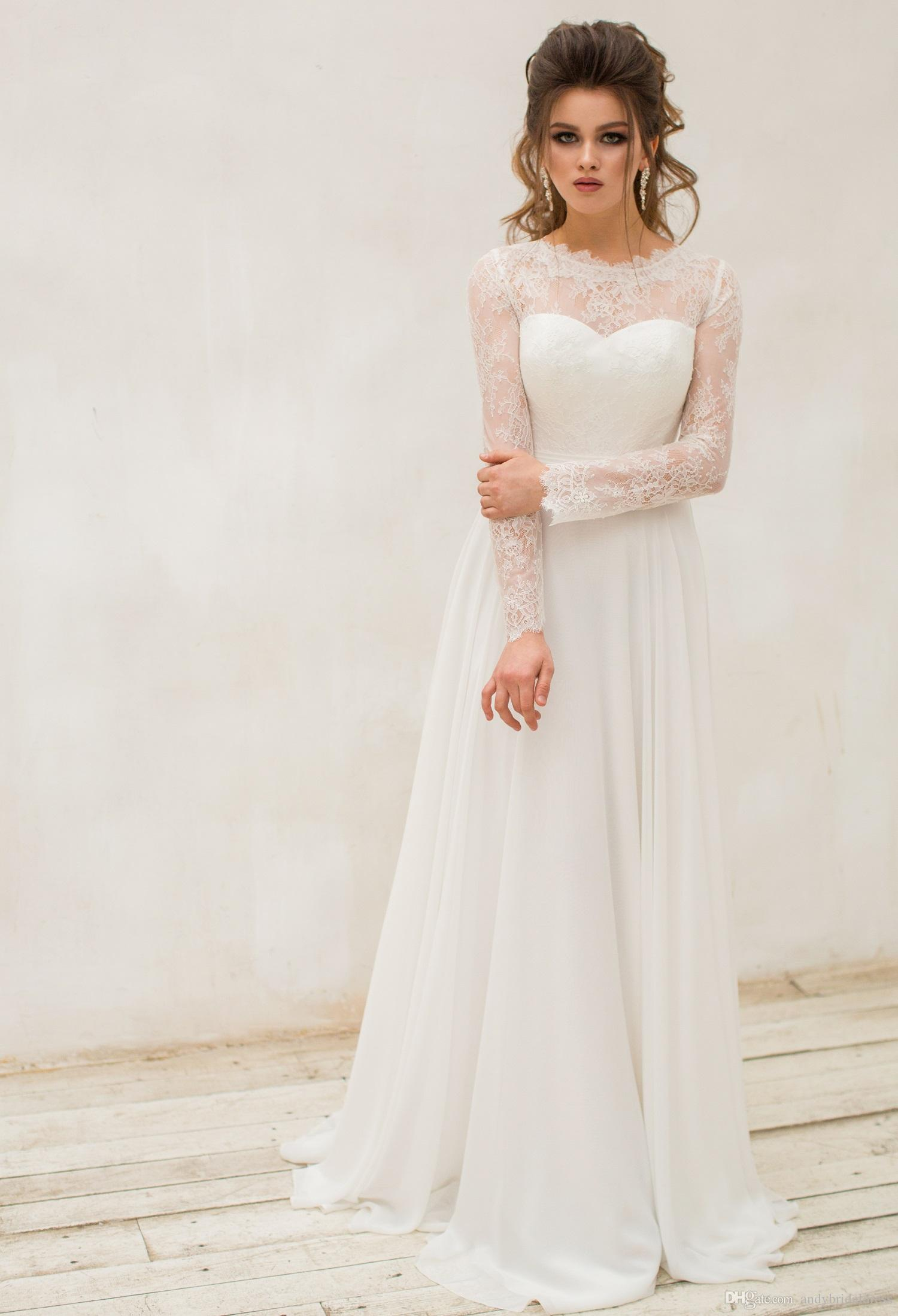 Discount 2018 New Long Sleeve Bohemian Wedding Dresses Bridal Gowns ...