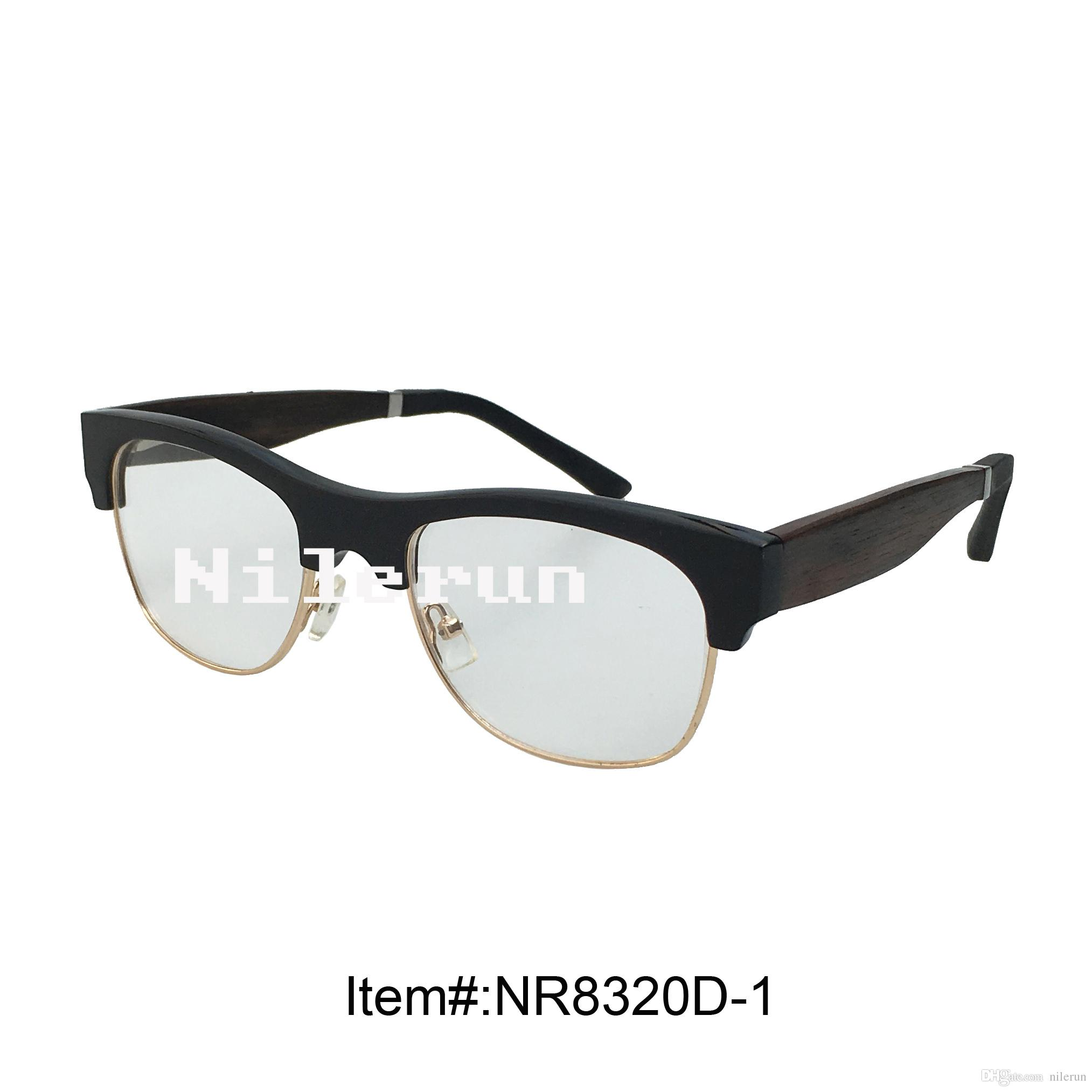 3899c4132f42c Hot Selling Gold Metal Rim Buffalo Horn Half Frame Optical Glasses With  Wood Temples And Soft Silica Gel Temple Tips Eye Glass Frame Frameless  Eyeglasses ...