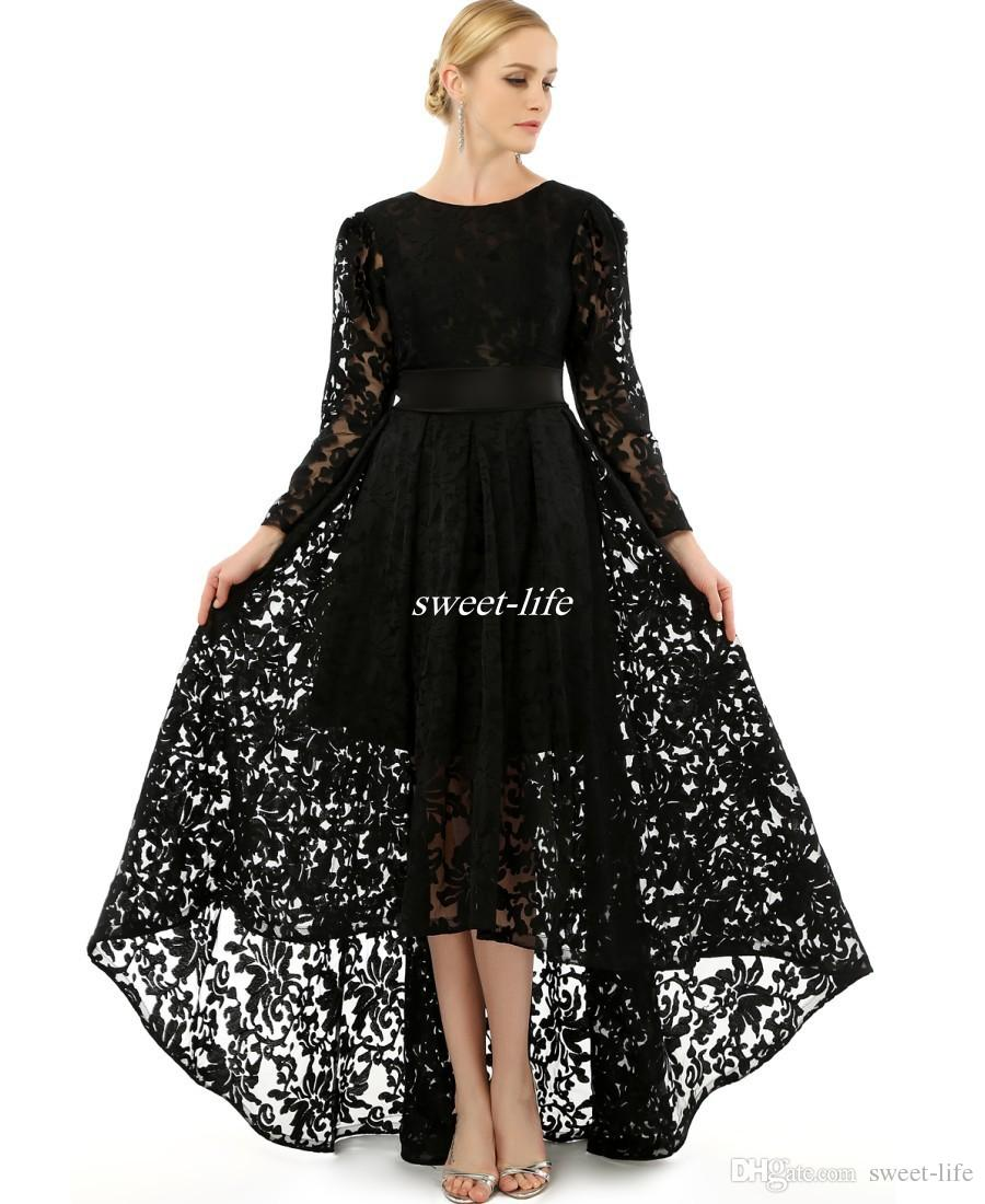 Los vestidos del coctel elegante Tamaño de manga larga Negro Plus vestidos de noche con cuello redondo de una línea de partido de baile Mín formal del cordón de 2020 Hola vestido Madres
