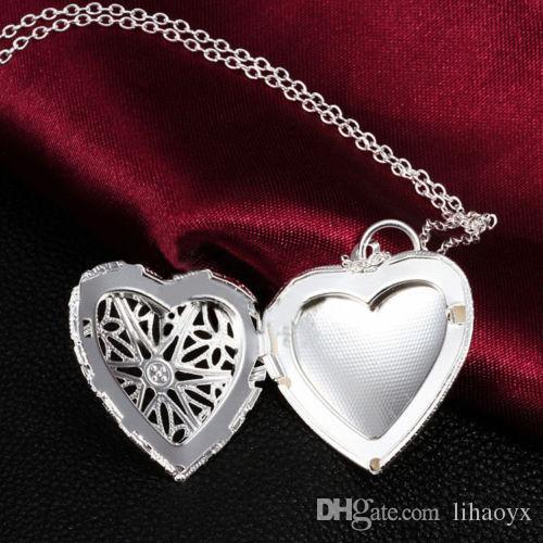 DIY مجوهرات النحاس جوفاء الذهب والفضة مطلي صور المناجد القلب النفط المناجد قلادة قلادة B630