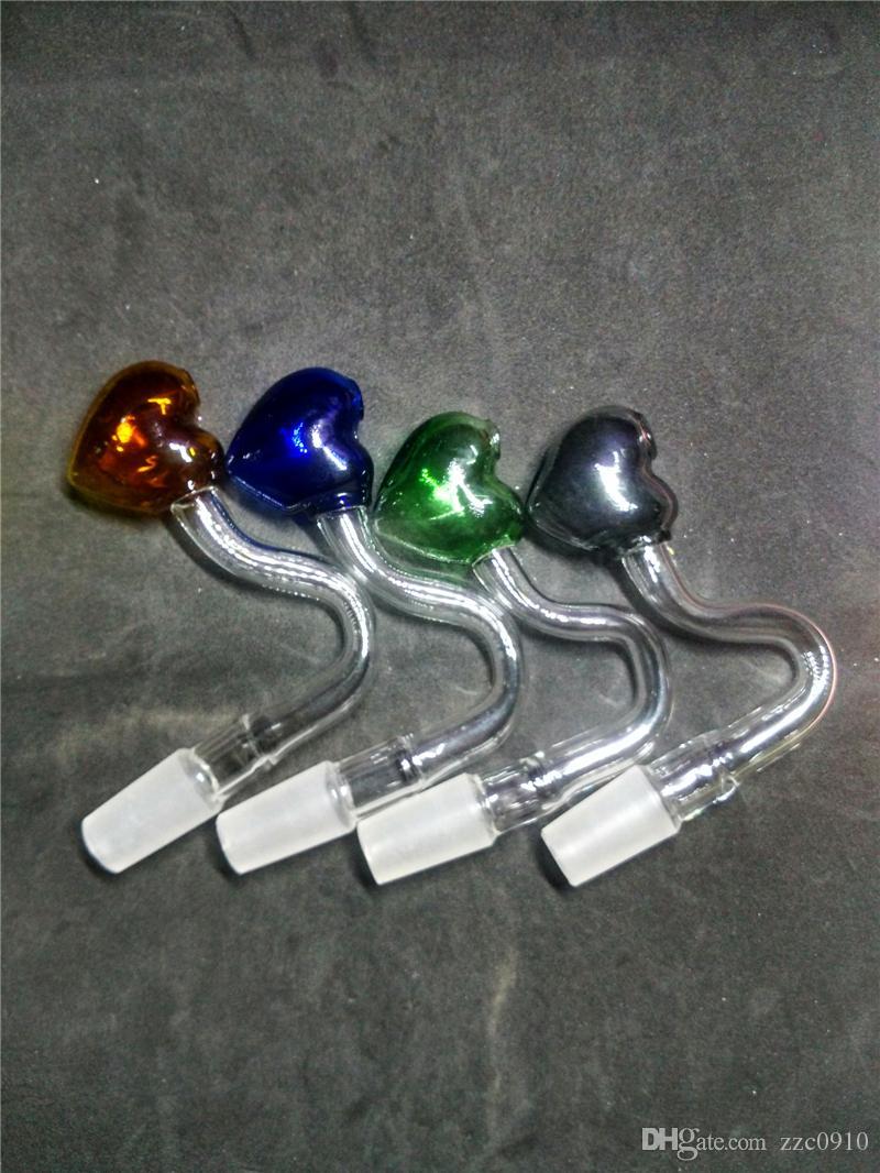 Tuyau en verre en forme de coeur pipe à eau pipe en verre brûleur à mazout à la main incurvée tuyau mâle femelle 14mm 18mm