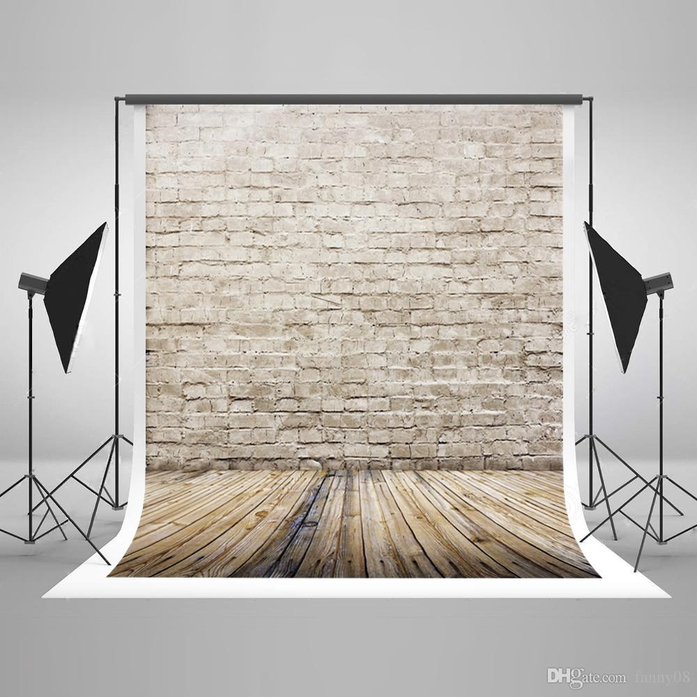 5x7ft(150x220cm) Vintage Brick Wall Photography Background Light Gray Wood Floor Photo Backdrop for Children