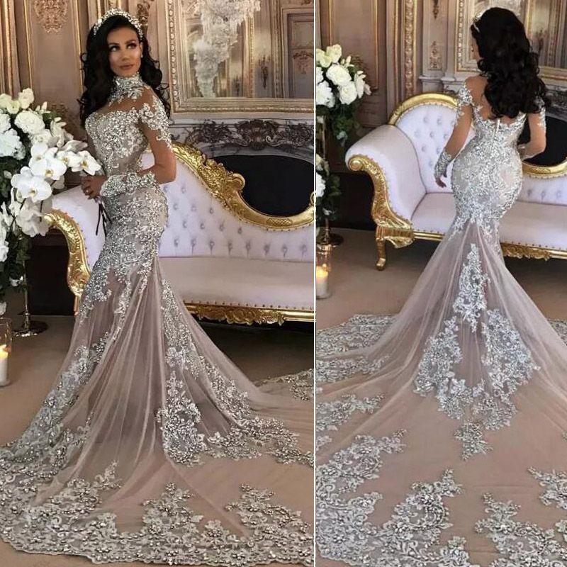 Sheer Lace Long Sleeve Satin Mermaid Wedding Dresses: Sexy Silver Mermaid Wedding Dresses High Neck Long Sleeves