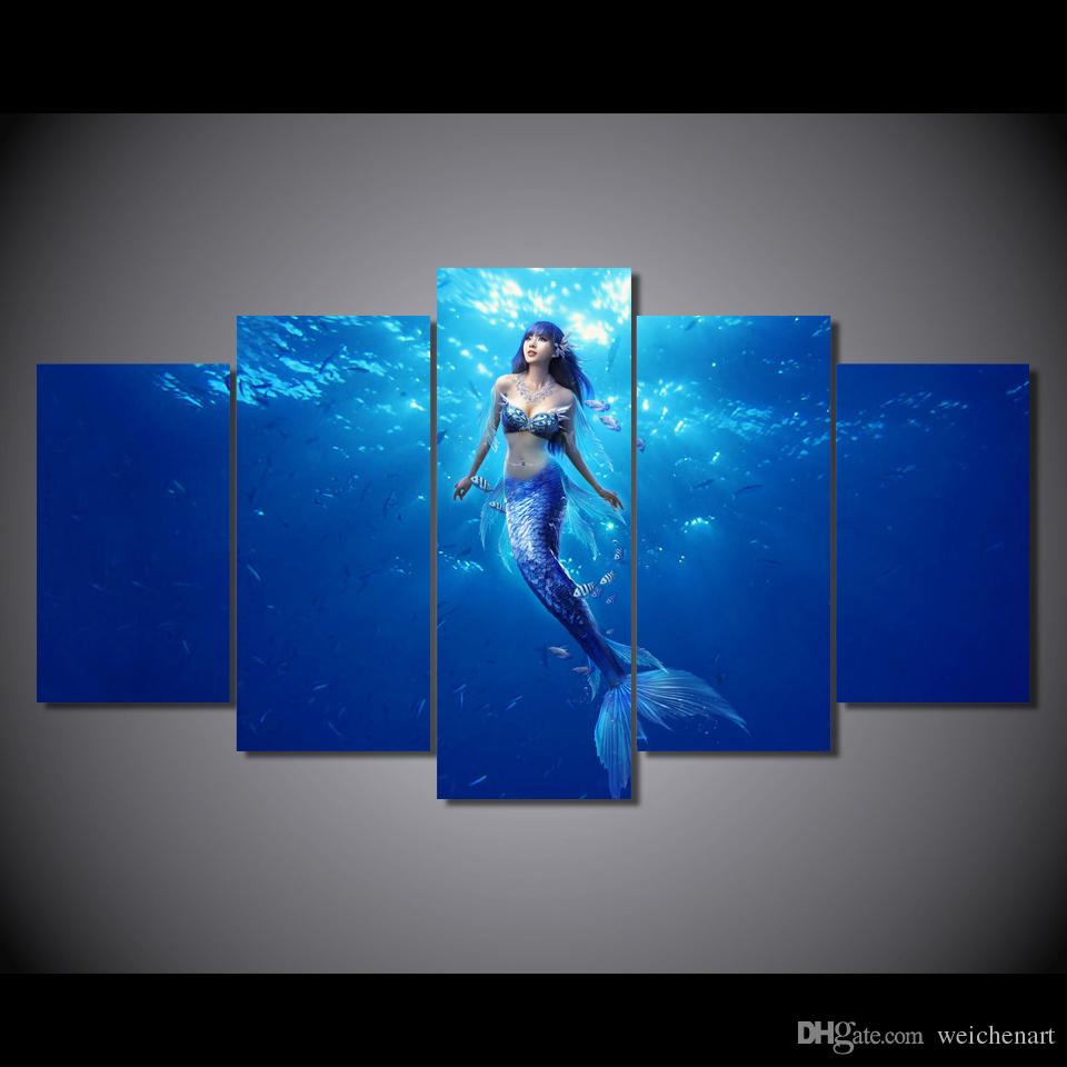 Framed HD Printed Deep sea mermaid picture Painting wall art room decor print poster picture canvas /ny-6400