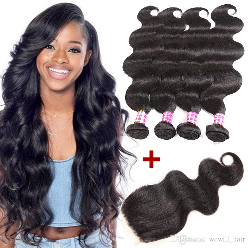 2019 Top Mink Brazilian Virgin Hair Body Wave 4 Bundles With Closure Cheap  Remy Human Hair Extensions For Black Women Unprocessed Weaves Closure From  ... a3e1fe028