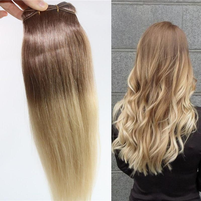 Ombre Indian Remy Clip In Human Hair Extensions T6613 Brown Blonde