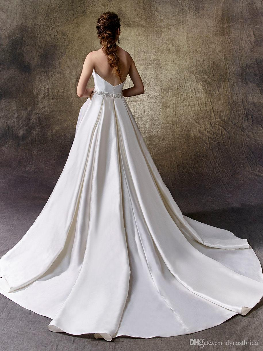 2017 Satin Sweetheart Neckline Beaded Waist Pockets A-Line Strapless Bridal Gown Lindsey 1123 Ddbg Wedding Dresses