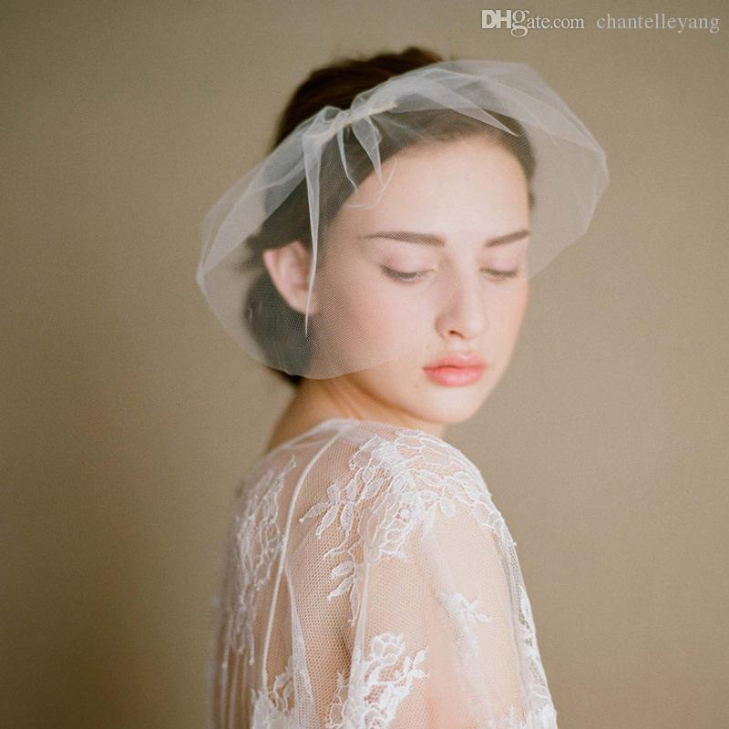Romantic 2017 Headpiece Bridal Face Veils For Wedding Bridal Hair Comb Birdcage Hair Handmade White Bride Hats Handwear Wedding Accessories