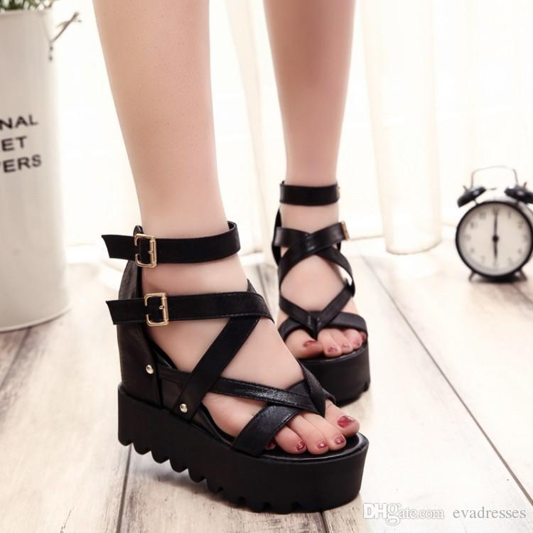 754c92ecb3a Fashion Sandals Summer Wedges Sandals Platform Lace Belt Bow Flip Flops  Open Toe Corss High Heeled Women Shoes Female Casual Shoes Women Shoes From  ...