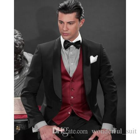 Custom Made Black One Button Groom Tuxedos Best Man Shawl Satin Lapel Groomsmen Men Wedding Suits Bridegroom (Jacket+Pants+Tie+Vest) H808