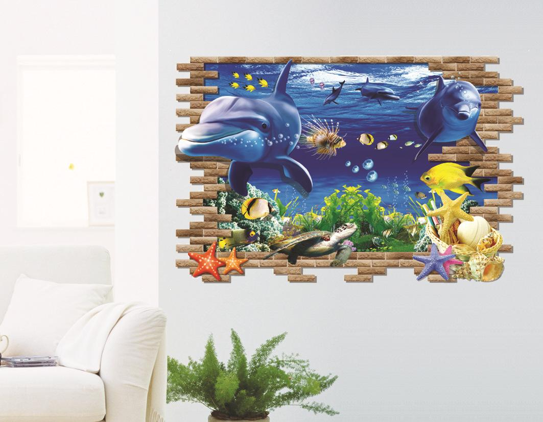 Dolphin 3d wall stickers children sitting living room sofa 2 pieces dolphin 3d wall stickers children sitting living room sofa background painting wall stickers creative stickers waterproof amipublicfo Choice Image