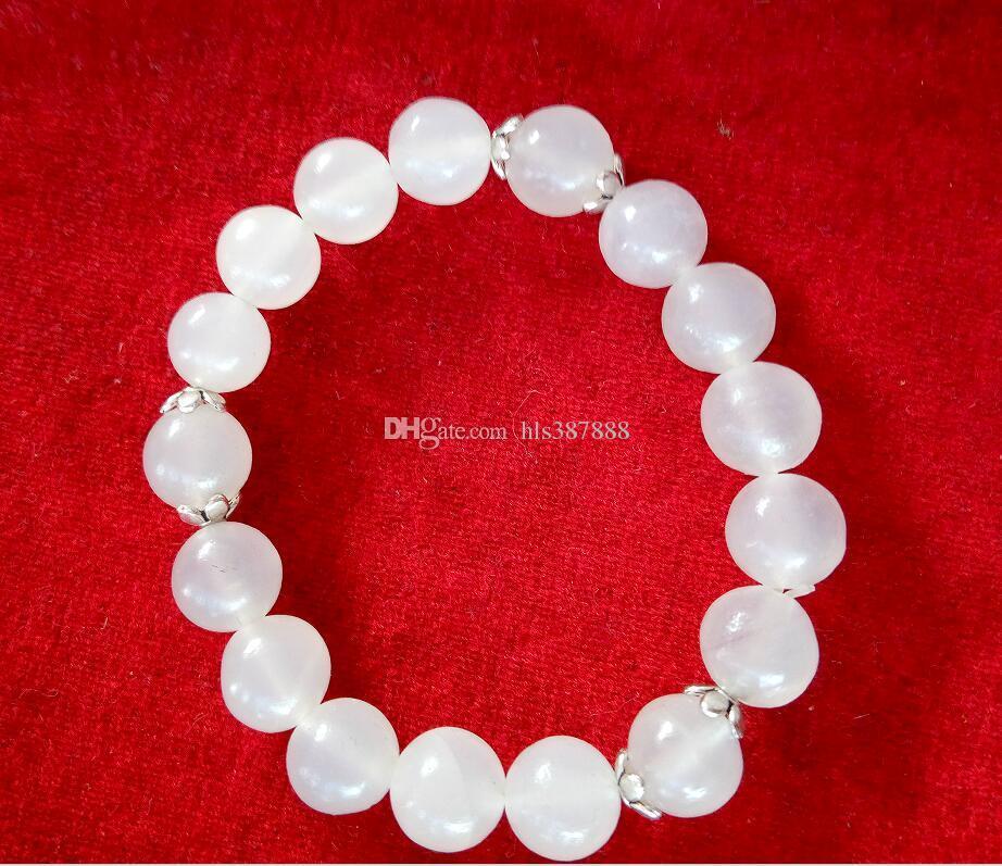 Braccialetto di perline in giada bianca naturale cinese xinjiang con spedizione gratuita X1
