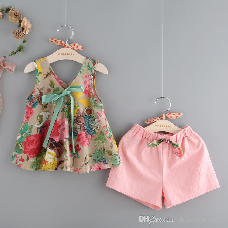 Summer kids clothes girl floral shirt+pink pants 2 pcs set children short sleeve bowknot clothes suit