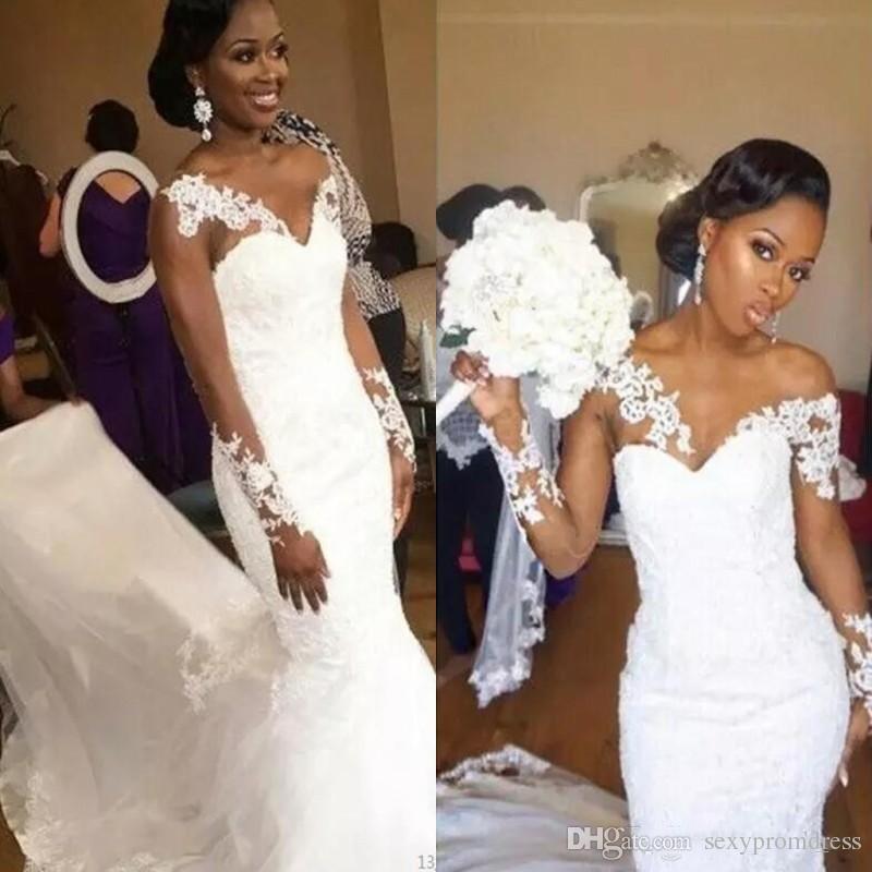Graceful Mermaid Wedding Dresses 2018 Summer Sheer Long Sleeves Lace