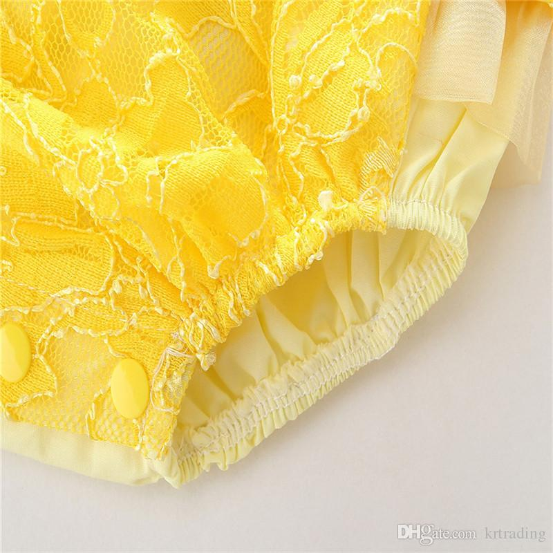 Infants girls backless lace romper yellow lace splicing onesie princess printing romper for 1-3T ins hot baby summer clothing