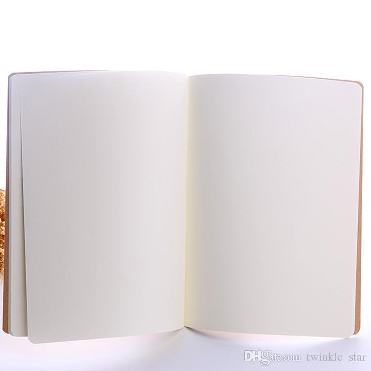 A4 A5 A6 خياطة ملزمة دفتر اليومية لينة المفكرة فارغة خمر مع غطاء البني للطلاب والرسم وممارسة دفتر