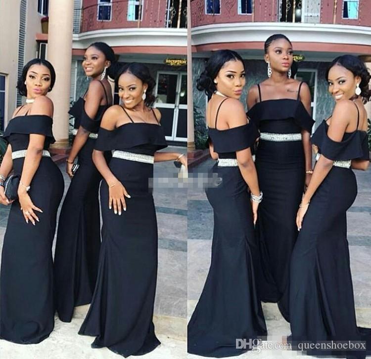 Custom Made Siyah Gelinlik Modelleri 2017 Spagetti Kristaller Kemer Mermaid Uzun Düğün Konuk Törenlerinde Hizmetçi Onur Parti Elbise Artı Boyutu Ucuz