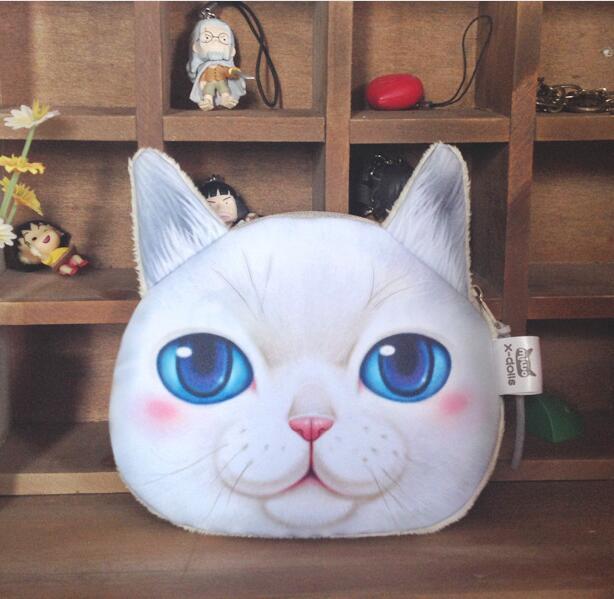 Mini 3D Kedi Çanta Hayvan Yüz Çanta Sikke Çanta Kız Çocuklar Cüzdan Makyaj Çanta Debriyaj Kılıfı Peluş Tuşları Telefon Tutucu Çanta