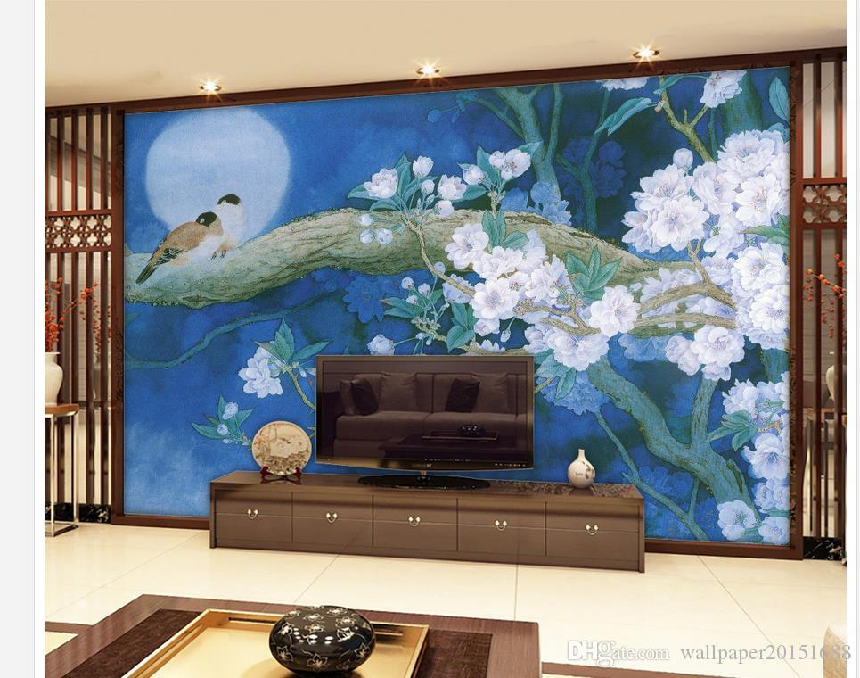 pintura da flor pintura chinesa muralha da China fundo pintura mural 3d papel de parede papéis de parede em 3D para TV pano de fundo