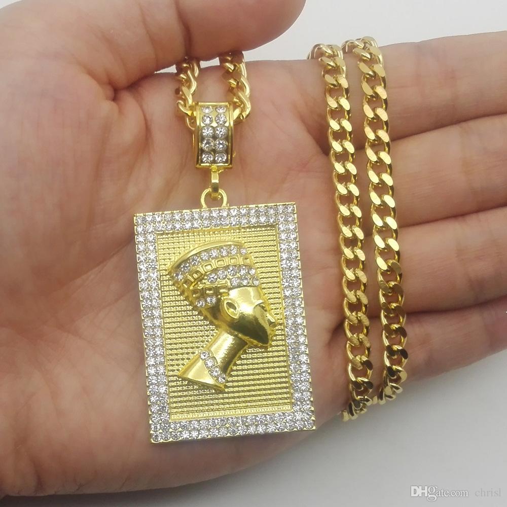 Hiphop Egipski Pharaoh Naszyjnik Złoty Kolor Wisiorek Kwadratowa Karty Ze Stali Nierdzewnej Kubański Łańcuch Prezent Dla Mężczyzn / Kobiet Etiopska Biżuteria Modna