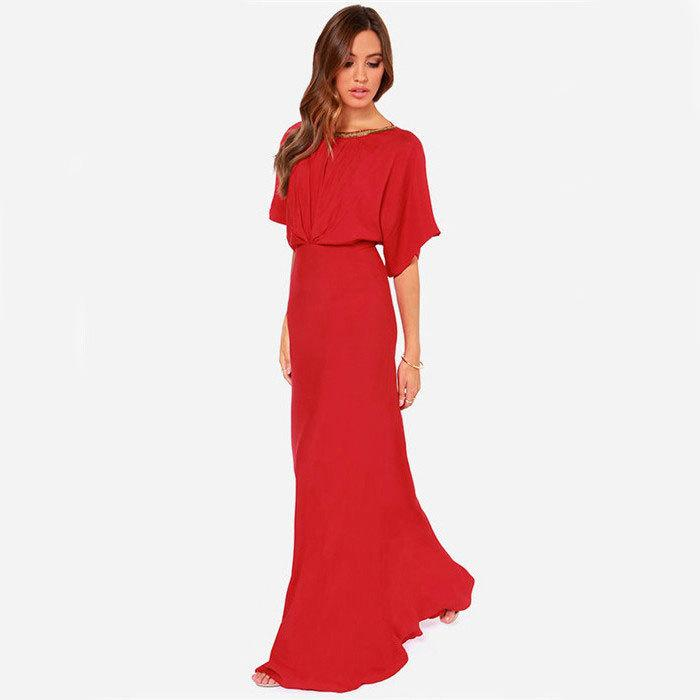 Sexy maxi dresses women club dress round neck back in sexy deep V backless party clothing short sleeve floor-length OL-8658
